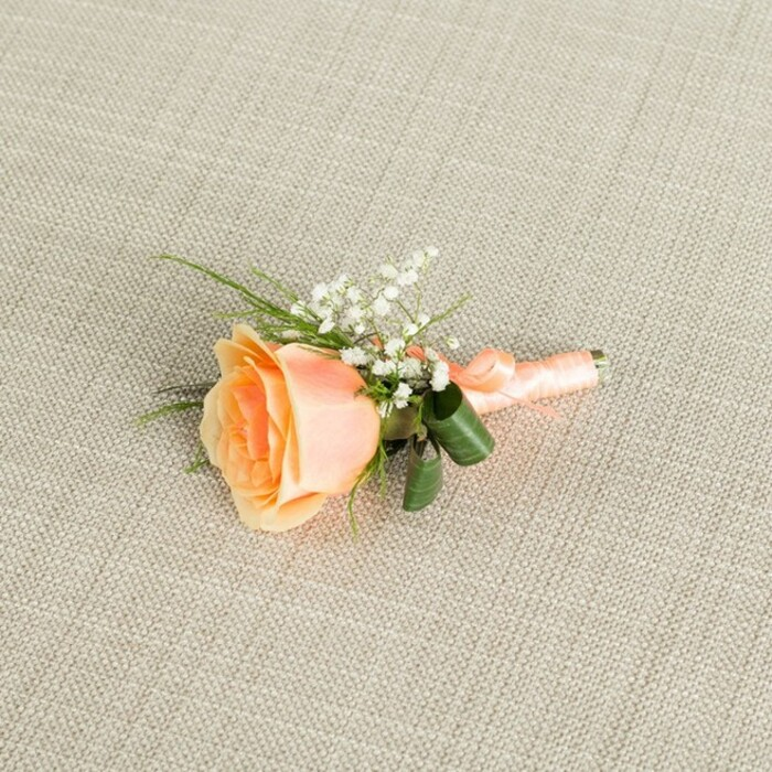 ORANGE ROSE GROOM BUTTONHOLE