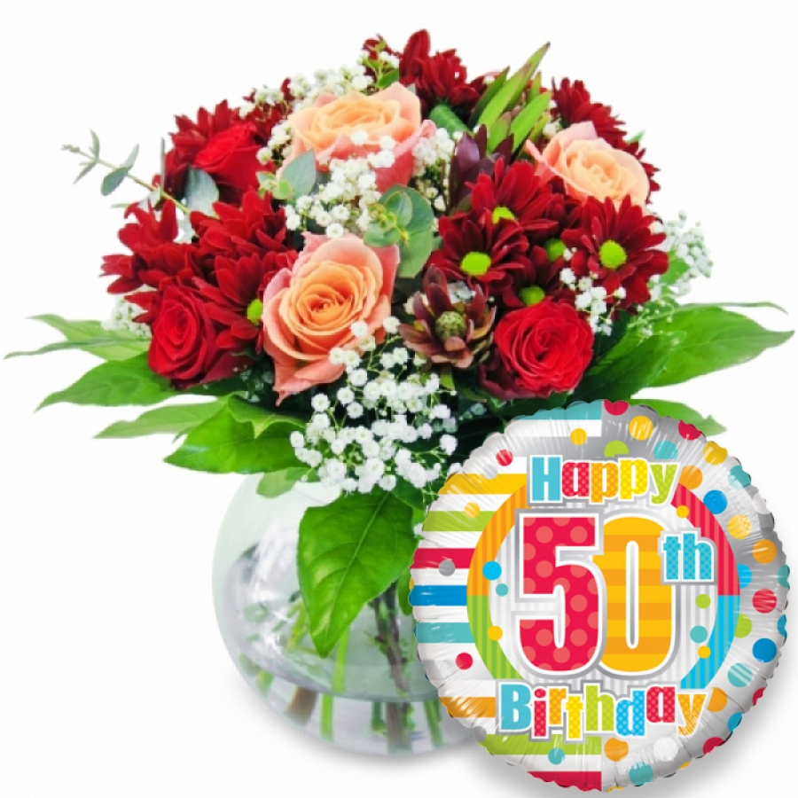 Order wondrous blooms 50th birthday with handy flowers the best wondrous blooms with balloon izmirmasajfo